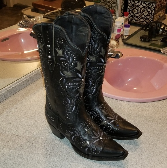 Black Bling Cowgirl Boots | Poshmark